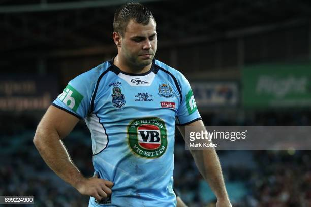 Wade Graham of the Blues looks dejected after defeat during game two of the State Of Origin series between the New South Wales Blues and the...