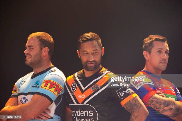 Wade Graham of the Sharks, Benji Marshall of the Wests Tigers and Mitchell Pearce of the Knights look on as captains of all NRL teams pose during the...