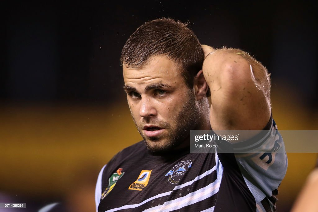 Wade Graham of the Sharks looks dejected after defeat during the round eight NRL match between the Cronulla Sharks and the Gold Coast Titans at Southern Cross Group Stadium on April 22, 2017 in Sydney, Australia.
