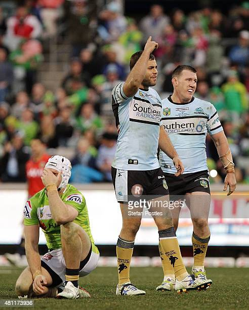 Wade Graham of the Sharks reacts after the round 19 NRL match between the Canberra Raiders and the Cronulla Sharks at GIO Stadium on July 18 2015 in...