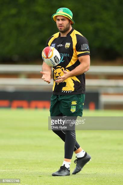 Wade Graham passes during an Australian Kangaroos Rugby League World Cup training session at Langlands Park on November 21 2017 in Brisbane Australia