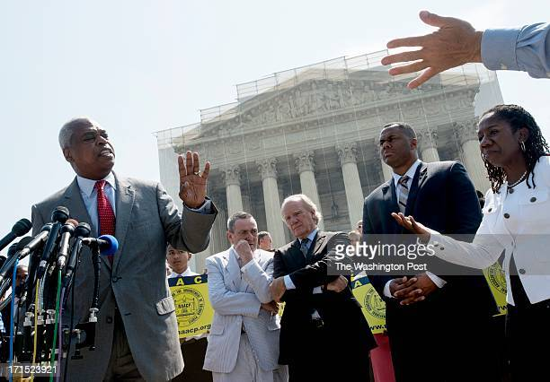 Wade Henderson president of the Leadership Conference on Civil and Human Rights responds to questions from a reporter in Washington DC on June 25...