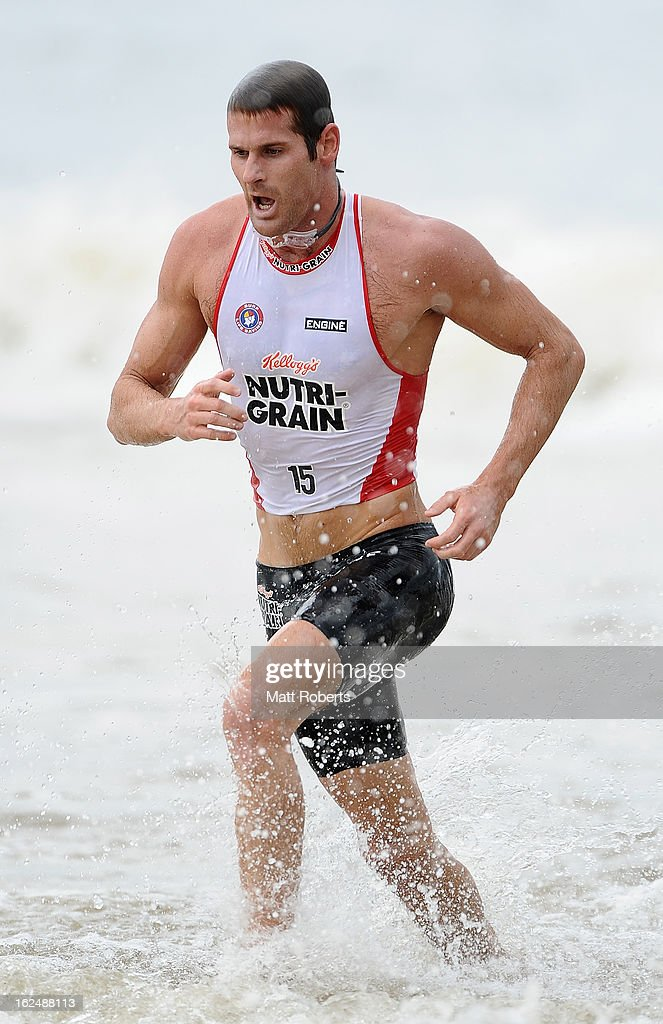 Wade Krieger runs out of the water during the Noosa Heads round of the 2012-13 Kelloggs Nutri-Grain Ironman Series on February 24, 2013 in Noosa, Australia.