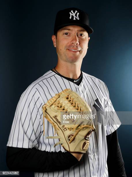 Wade LeBlanc of the New York Yankees poses for a portrait during the New York Yankees photo day on February 21 2018 at George M Steinbrenner Field in...
