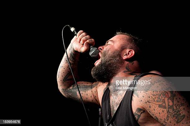 Wade MacNeil of Gallows performs during a date of their October 2012 UK tour at Rock City on October 10 2012 in Nottingham England