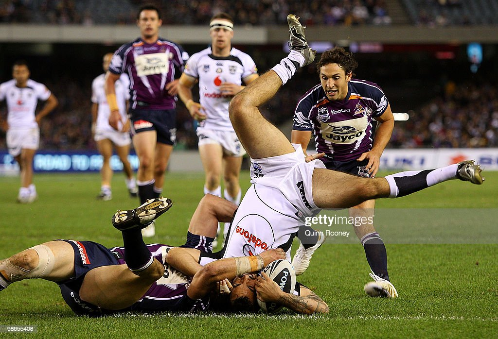Wade McKinnon of the Warriors is tackled during the round seven NRL match between the Melbourne Storm and the Warriors at Etihad Stadium on April 25, 2010 in Melbourne, Australia.