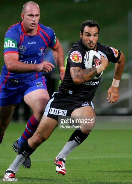 Wade McKinnon of the Warriors makes a break during the NRL trial match between the Warriors and the Newcastle Knights at North Harbour Stadium on...