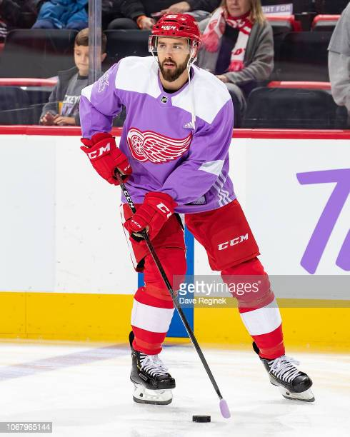 Wade Megan of the Detroit Red Wings skates in warm-ups with his custom Hockey Fights Cancer jersey prior to an NHL game against the Arizona Coyotes...