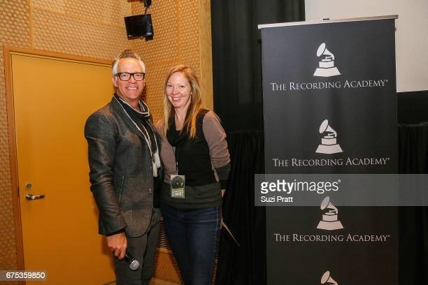 Wade Metzler of SoundExchange and singersongwriter Portia Sabin pose for a photo at the GRAMMYPro Songwriter's Summit at Museum of Pop Culture on...