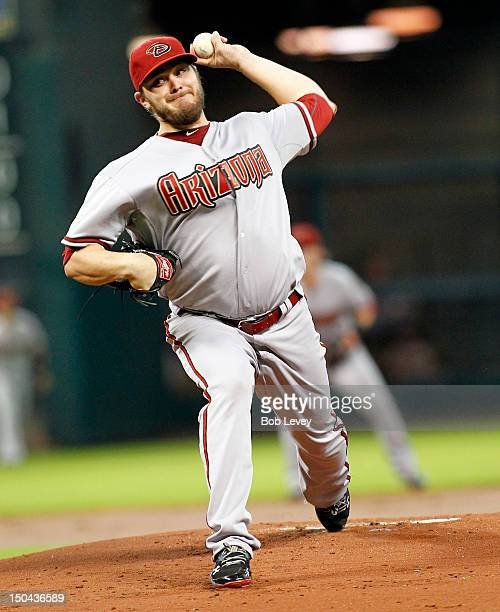 Wade Miley of the Arizona Diamondbacks pitches against the Houston Astros at Minute Maid Park on August 17 2012 in Houston Texas