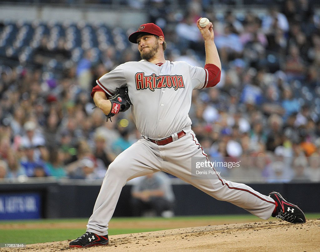 Wade Miley #36 of the Arizona Diamondbacks pitches during the second inning of a baseball game against the San Diego Padres at Petco Park on June 15, 2013 in San Diego, California.