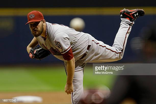 Wade Miley of the Arizona Diamondbacks pitches in the bottom of the first inning against the Milwaukee Brewers during the game at Miller Park on...