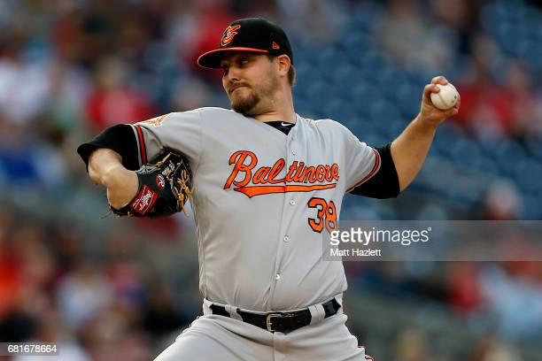 Wade Miley of the Baltimore Orioles pitches against the Washington Nationals during the first inning at Nationals Park on May 10 2017 in Washington DC