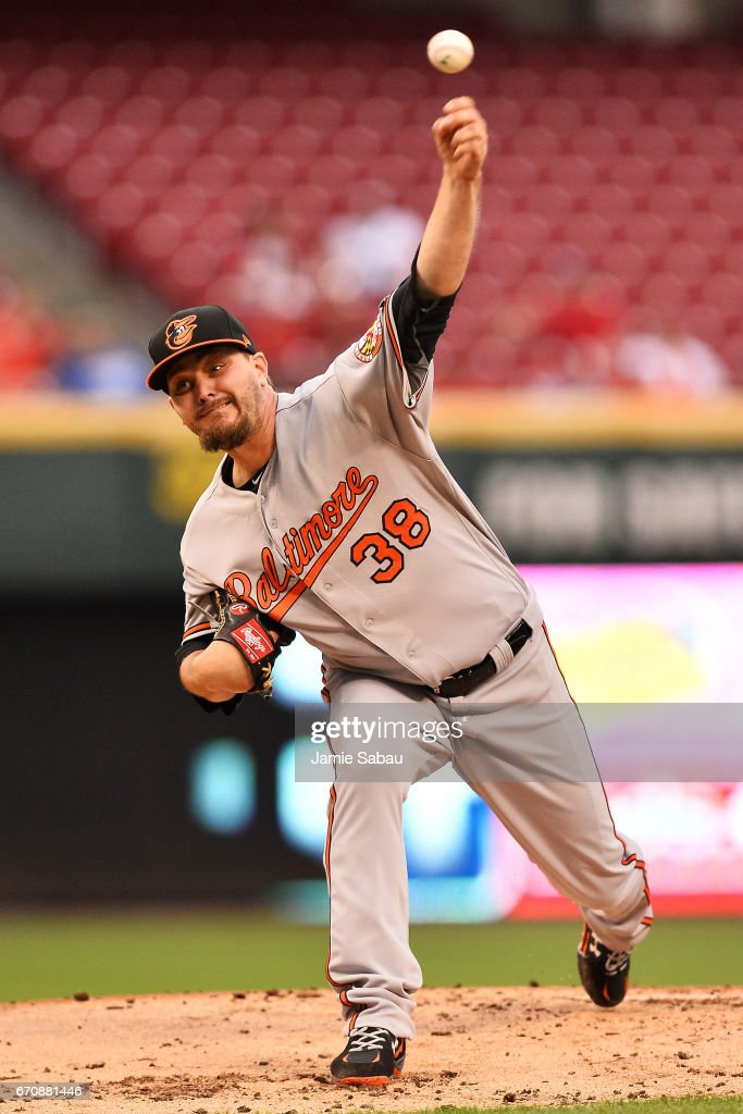 Wade Miley #38 of the Baltimore Orioles pitches in the first inning against the Cincinnati Reds at Great American Ball Park on April 20, 2017 in Cincinnati, Ohio.