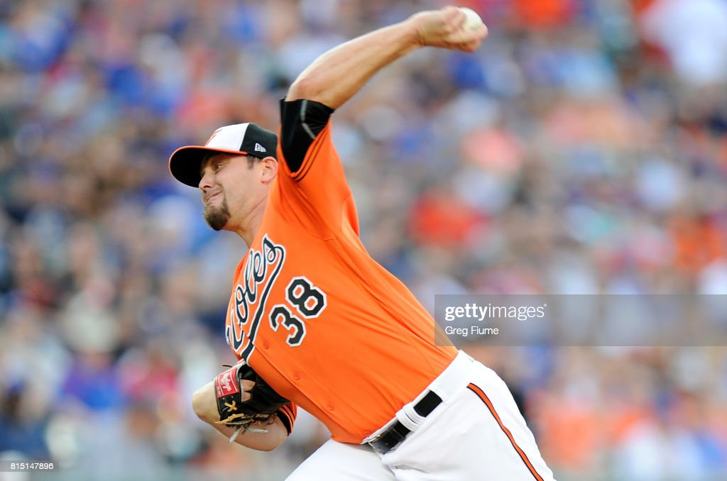 Wade Miley #38 of the Baltimore Orioles pitches in the first inning against the Chicago Cubs at Oriole Park at Camden Yards on July 15, 2017 in Baltimore, Maryland.
