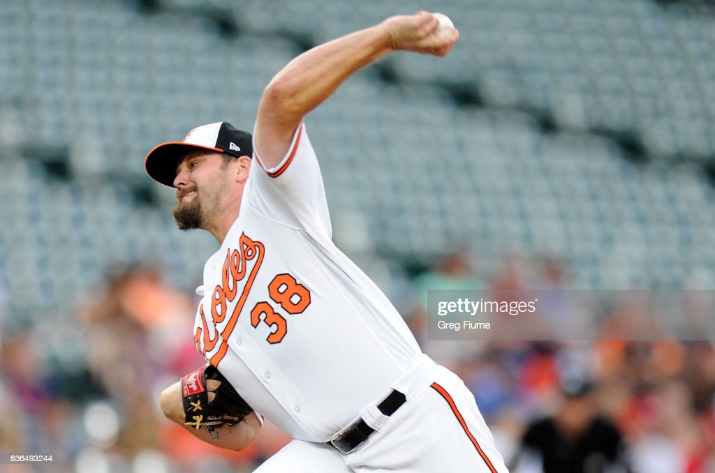 Wade Miley #38 of the Baltimore Orioles pitches in the first inning against the Oakland Athletics at Oriole Park at Camden Yards on August 21, 2017 in Baltimore, Maryland.