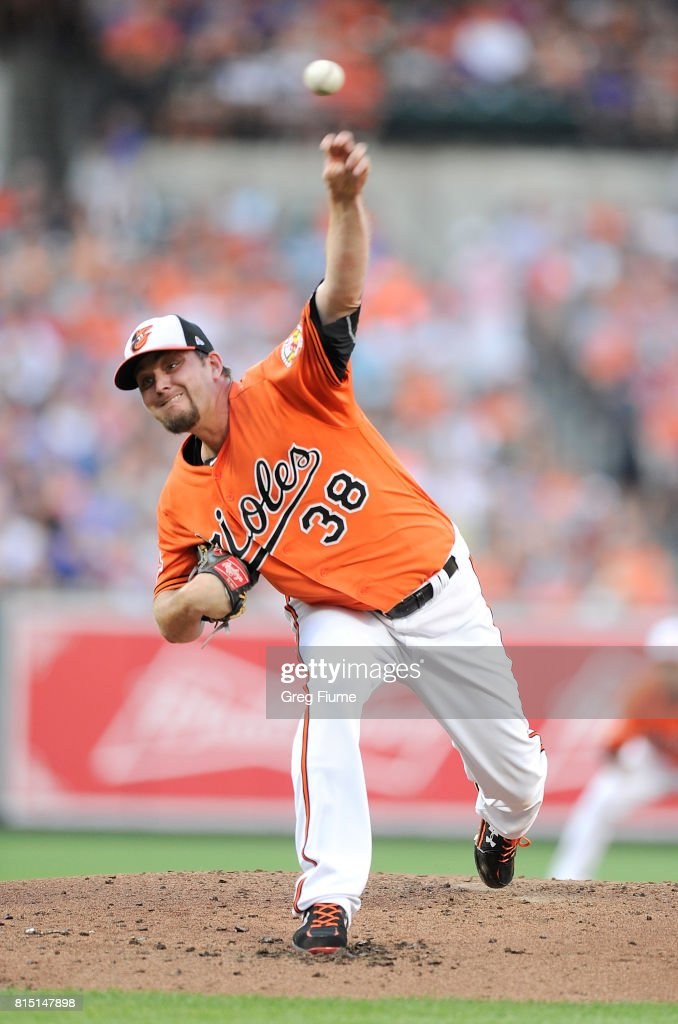 Wade Miley #38 of the Baltimore Orioles pitches in the second inning against the Chicago Cubs at Oriole Park at Camden Yards on July 15, 2017 in Baltimore, Maryland.