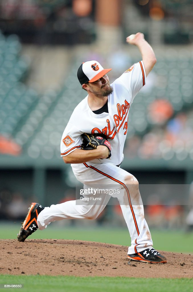 Wade Miley #38 of the Baltimore Orioles pitches in the second inning against the Oakland Athletics at Oriole Park at Camden Yards on August 21, 2017 in Baltimore, Maryland.