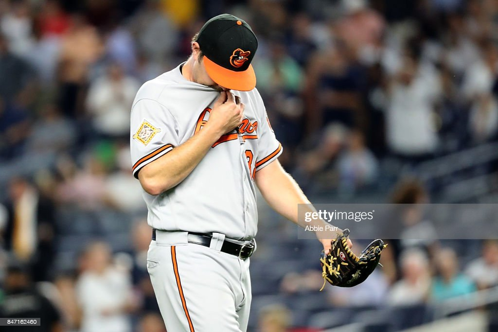 Wade Miley #38 of the Baltimore Orioles reacts after being pulled in the first inning after giving up 6 runs to the New York Yankees at Yankee Stadium on September 14, 2017 in the Bronx borough of New York City.
