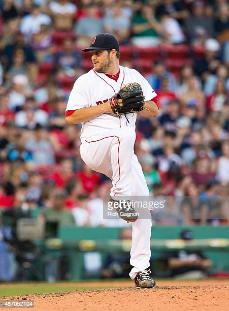 Wade Miley of the Boston Red Sox pitches during the ninth inning against the Philadelphia Phillies at Fenway Park on September 5 2015 in Boston...