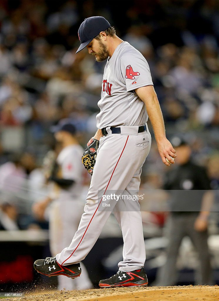 Wade Miley #20 of the Boston Red Sox reacts in the fifth inning against the New York Yankees on September 30, 2015 at Yankee Stadium in the Bronx borough of New York City.