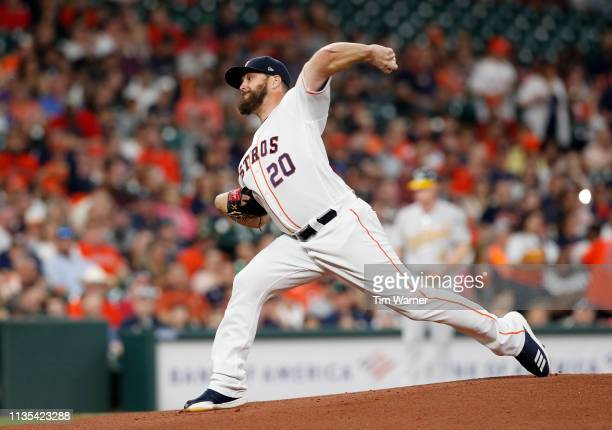Wade Miley of the Houston Astros pitches in the first inning against the Oakland Athletics at Minute Maid Park on April 6 2019 in Houston Texas