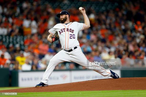 Wade Miley of the Houston Astros pitches in the first inning against the Detroit Tigers at Minute Maid Park on August 19 2019 in Houston Texas