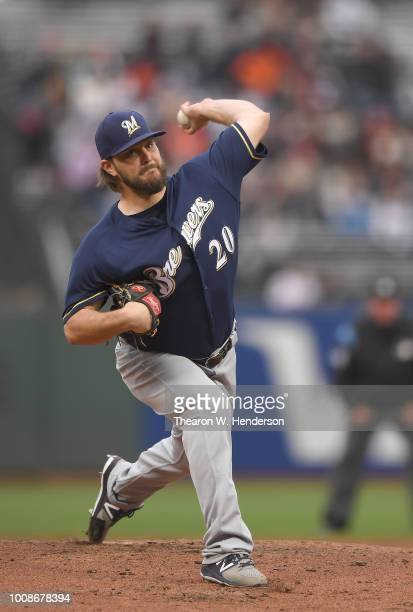 Wade Miley of the Milwaukee Brewers pitches against the San Francisco Giants in the bottom of the first inning at ATT Park on July 26 2018 in San...
