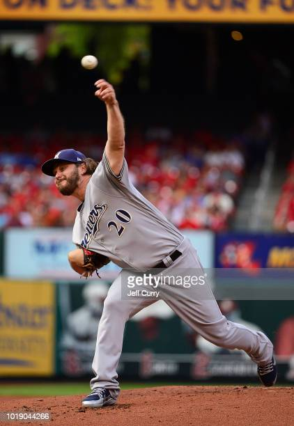 Wade Miley of the Milwaukee Brewers pitches during the first inning against the St Louis Cardinals at Busch Stadium on August 18 2018 in St Louis...