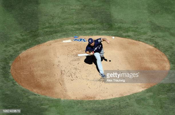 Wade Miley of the Milwaukee Brewers pitches in the first inning of Game 5 of the NLCS against the Los Angeles Dodgers at Dodger Stadium on Wednesday...
