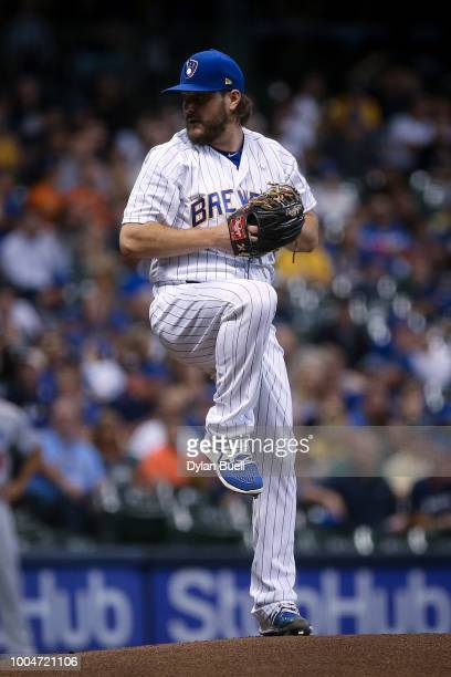 Wade Miley of the Milwaukee Brewers pitches in the first inning against the Los Angeles Dodgers at Miller Park on July 20 2018 in Milwaukee Wisconsin