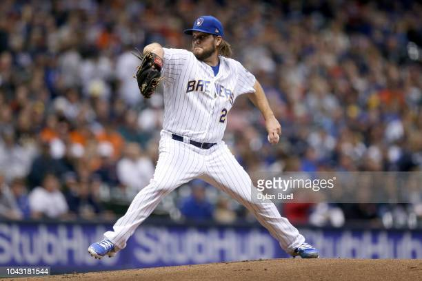 Wade Miley of the Milwaukee Brewers pitches in the first inning against the Detroit Tigers at Miller Park on September 29 2018 in Milwaukee Wisconsin