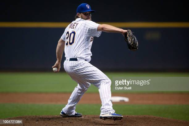 Wade Miley of the Milwaukee Brewers pitches in the second inning against the Los Angeles Dodgers at Miller Park on July 20 2018 in Milwaukee Wisconsin