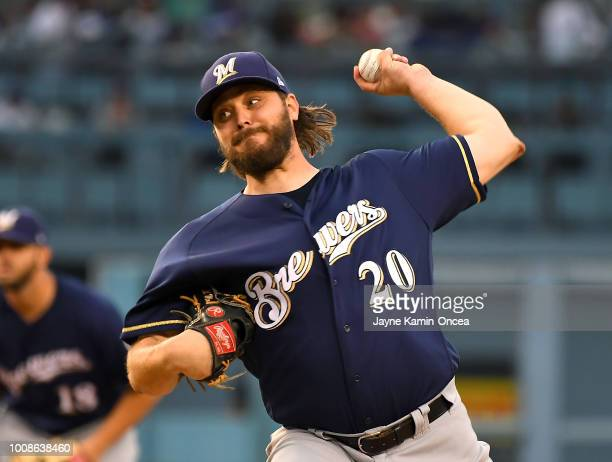 Wade Miley of the Milwaukee Brewers pitches in the second inning against the Los Angeles Dodgers at Dodger Stadium on July 31 2018 in Los Angeles...
