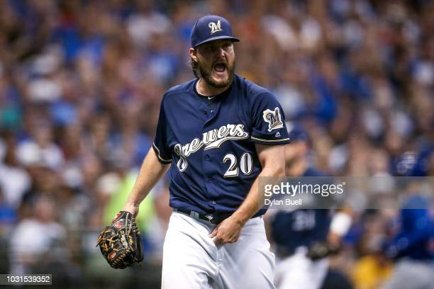 Wade Miley of the Milwaukee Brewers reacts in the sixth inning against the Chicago Cubs at Miller Park on September 4 2018 in Milwaukee Wisconsin