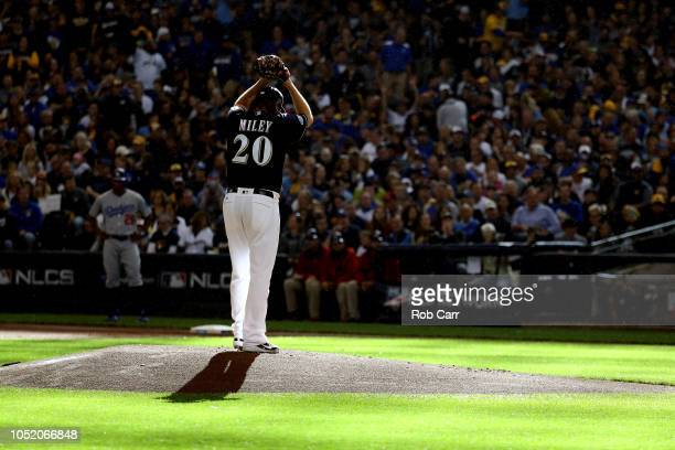 Wade Miley of the Milwaukee Brewers throws a pitch against the Los Angeles Dodgers during the first inning in Game Two of the National League...