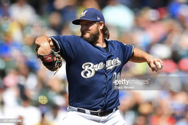 Wade Miley of the Milwaukee Brewers throws a pitch during a game against the Colorado Rockies at Miller Park on August 5 2018 in Milwaukee Wisconsin...