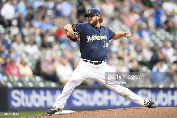 Wade Miley of the Milwaukee Brewers throws a pitch during the first inning of a game against the Cleveland Indians at Miller Park on May 8 2018 in...