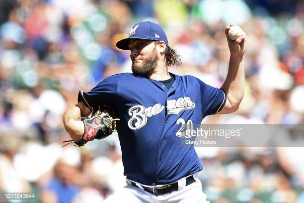 Wade Miley of the Milwaukee Brewers throws a pitch during the second inning of a game against the Colorado Rockies at Miller Park on August 5 2018 in...