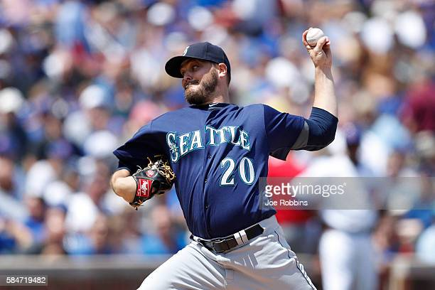 Wade Miley of the Seattle Mariners pitches in the first inning against the Chicago Cubs at Wrigley Field on July 30 2016 in Chicago Illinois