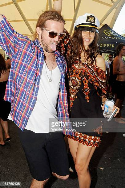 Wade Milne and Amanda Callan attends the Stab Magazine and Von Zipper sunglasses Shark Fin Soup party on November 1 2009 in Sydney Australia