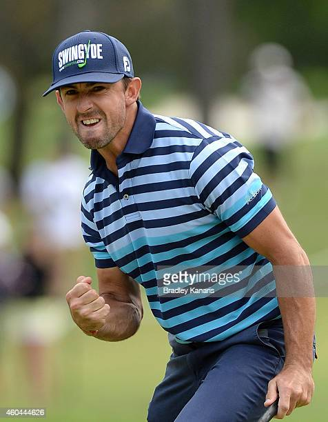 Wade Ormsby of Australia celebrates after sinking a putt on the 18th hole play off for first place during day four of the 2014 Australian PGA...