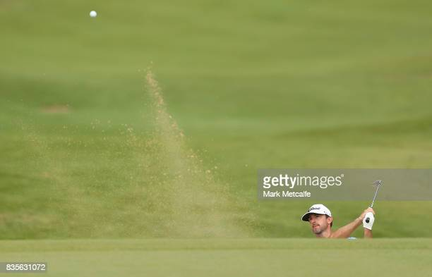 Wade Ormsby of Australia hits a bunker shot on the 1st hole during day four of the 2017 Fiji International at Natadola Bay Championship Golf Course...