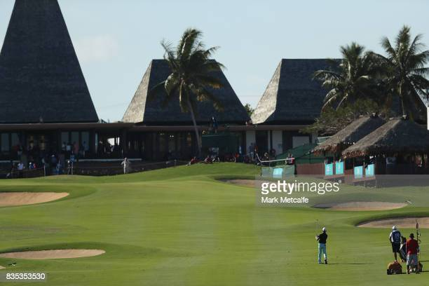 Wade Ormsby of Australia hits his approach shot on the 18th hole during day three of the 2017 Fiji International at Natadola Bay Championship Golf...