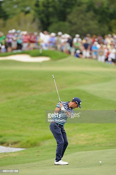 Wade Ormsby of Australia hits his approach shot on the 8th hole during day four of the 2014 Australian PGA Championship at Royal Pines Resort on...