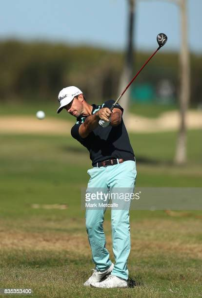 Wade Ormsby of Australia hits his second shot on the 17th hole during day three of the 2017 Fiji International at Natadola Bay Championship Golf...