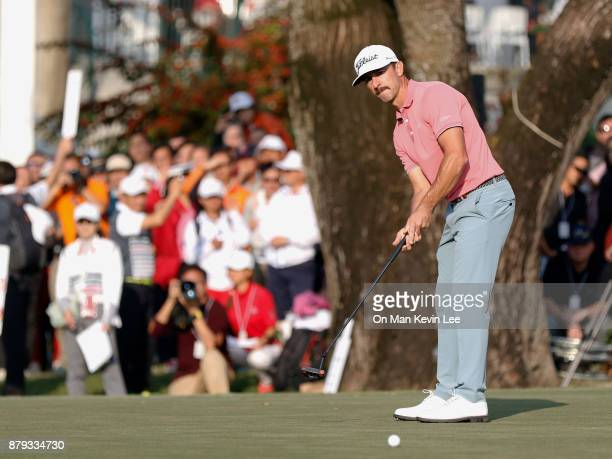 Wade Ormsby of Australia in action on the 18th hole in the UBS Hong Kong Open 2017 on November 26 2017 in Hong Kong Hong Kong