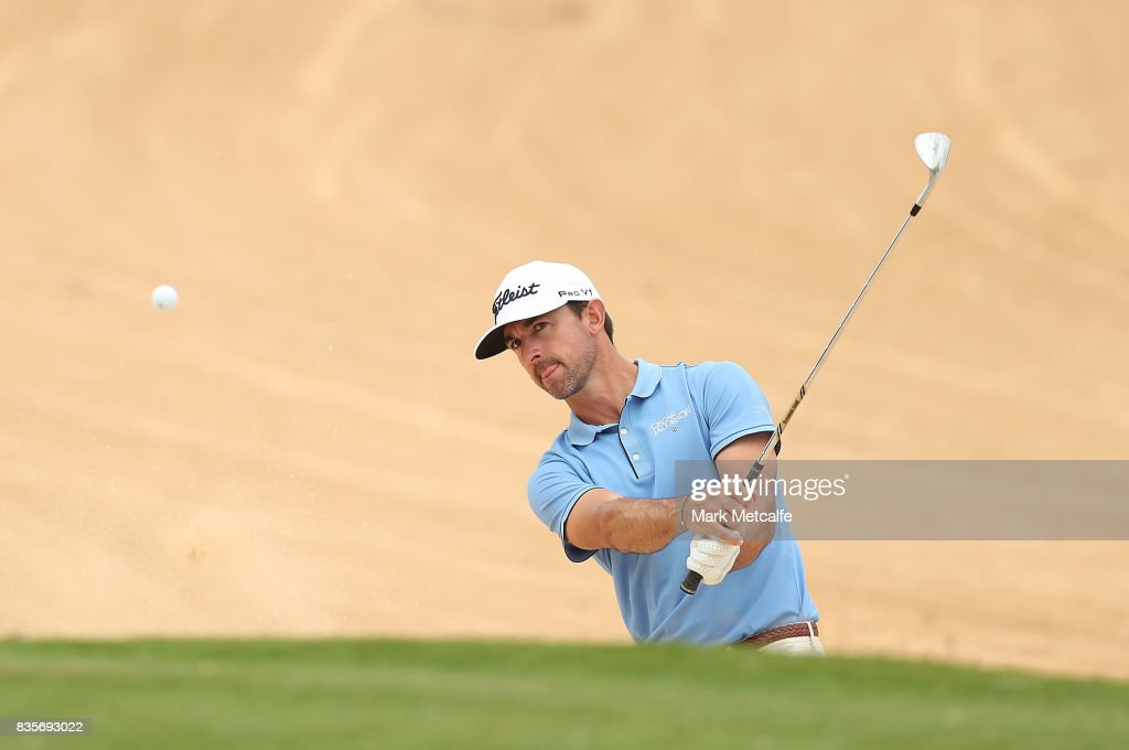 Wade Ormsby of Australia plays a bunker shot on the 17th hole during day four of the 2017 Fiji International at Natadola Bay Championship Golf Course on August 20, 2017 in Suva, Fiji.