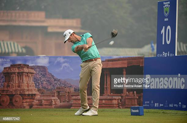 Wade Ormsby of Australia plays a shot during round two of the Panasonic Open India at Delhi Golf Club on November 7 2014 in New Delhi India