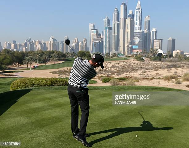 Wade Ormsby of Australia plays a shot during the first round of the 2015 Omega Dubai Desert Classic on January 29 2015 in Dubai United Arab Emirates...